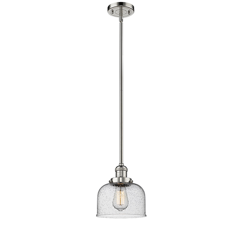 Large Bell Polished Nickel 10-Inch One-Light Mini Pendant with Seedy Dome Glass