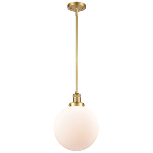 Franklin Restoration Satin Gold 10-Inch LED Pendant with Matte White Glass Shade