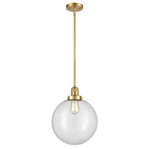Franklin Restoration Satin Gold 12-Inch LED Pendant with Clear Glass Shade