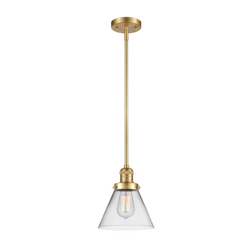 Franklin Restoration Satin Gold Eight-Inch LED Mini Pendant with Clear Large Cone Shade