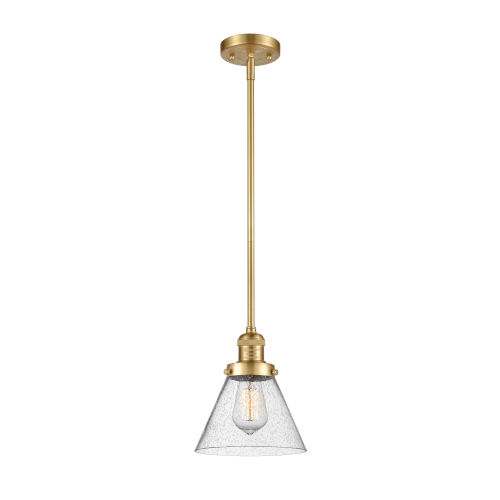 Franklin Restoration Satin Gold Eight-Inch One-Light Mini Pendant with Seedy Large Cone Shade