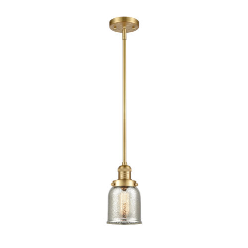 Franklin Restoration Satin Gold Five-Inch One-Light Mini Pendant with Silver Plated Mercury Glass Shade