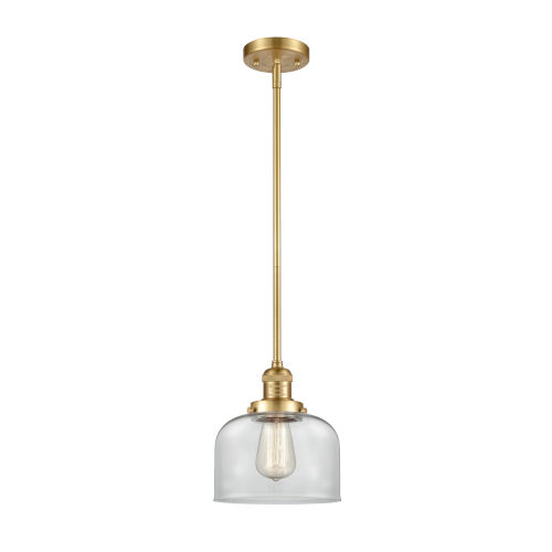 Franklin Restoration Satin Gold Eight-Inch One-Light Mini Pendant with Clear Large Bell Shade