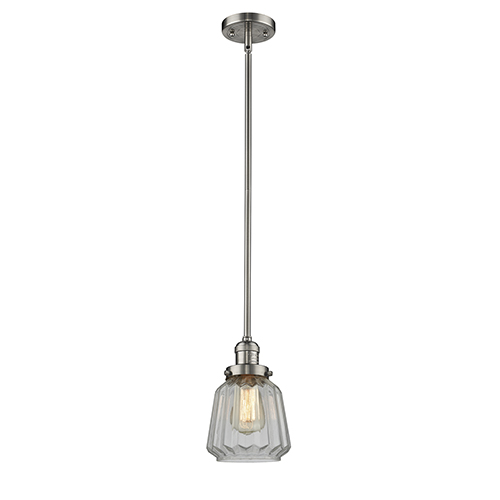 Innovations Lighting Chatham Brushed Satin Nickel Eight-Inch LED Mini Pendant with Clear Fluted Novelty Glass