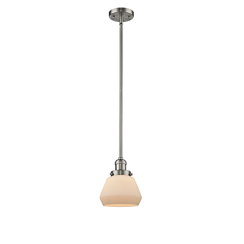 Fulton Brushed Satin Nickel Nine-Inch One-Light Mini Pendant with Matte White Cased Sphere Glass