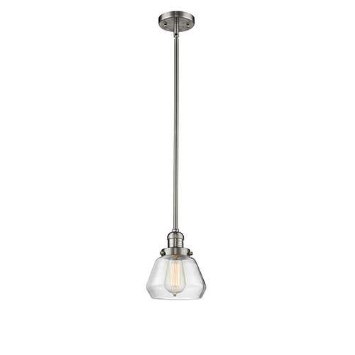 Innovations Lighting Fulton Brushed Satin Nickel Nine-Inch LED Mini Pendant with Clear Sphere Glass