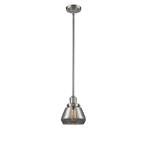 Fulton Brushed Satin Nickel Nine-Inch LED Mini Pendant with Smoked Sphere Glass