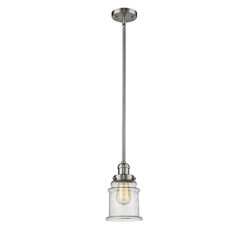 Canton Brushed Satin Nickel 10-Inch One-Light Mini Pendant with Seedy Bell Glass