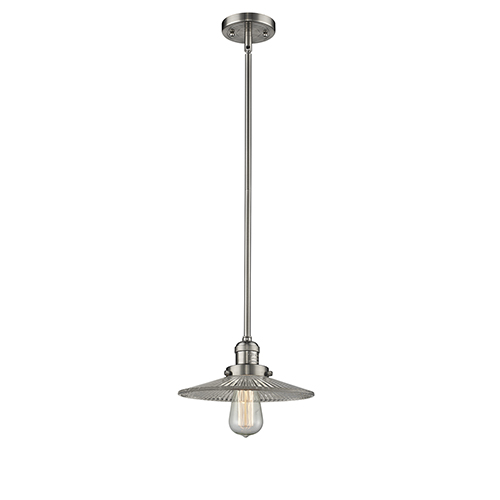 Innovations Lighting Halophane Brushed Satin Nickel Eight-Inch LED Mini Pendant with Halophane Cone Glass