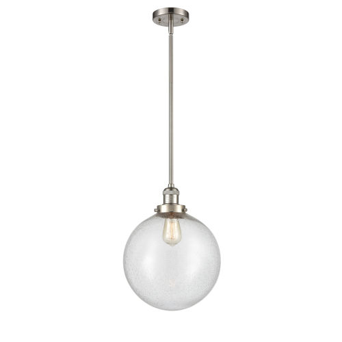 Franklin Restoration Brushed Satin Nickel 12-Inch One-Light Pendant with Seedy Beacon Shade