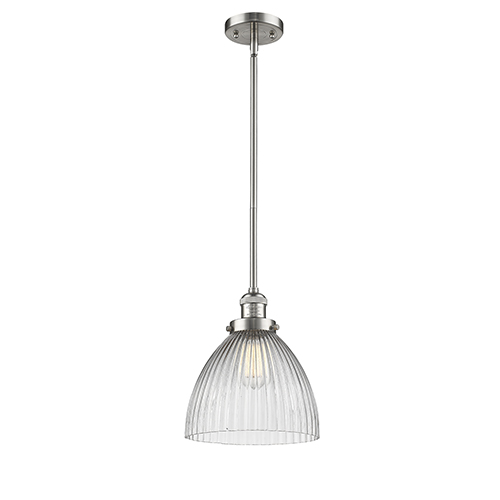 Seneca Falls Brushed Satin Nickel One-Light Mini Pendant with Halophane Dome Glass
