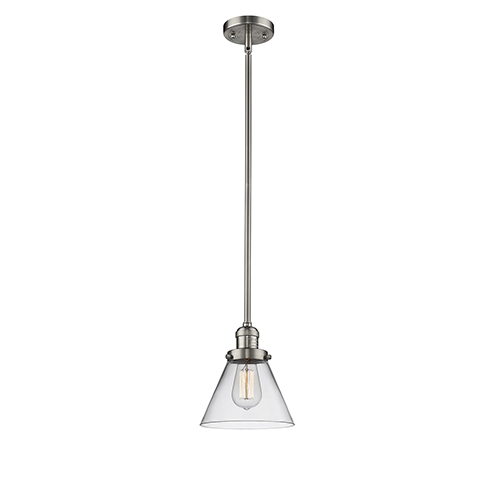 Large Cone Brushed Satin Nickel 10-Inch LED Mini Pendant with Clear Cone Glass