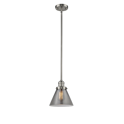 Innovations Lighting Large Cone Brushed Satin Nickel 10-Inch One-Light Mini Pendant with Smoked Cone Glass