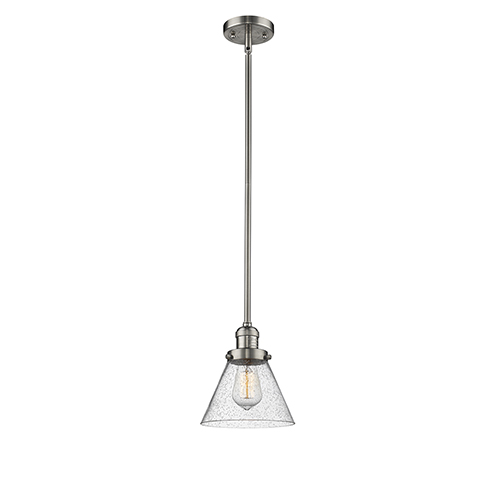 Innovations Lighting Large Cone Brushed Satin Nickel 10-Inch One-Light Mini Pendant with Seedy Cone Glass