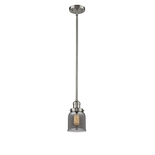 Small Bell Brushed Satin Nickel 10-Inch One-Light Mini Pendant with Smoked Bell Glass