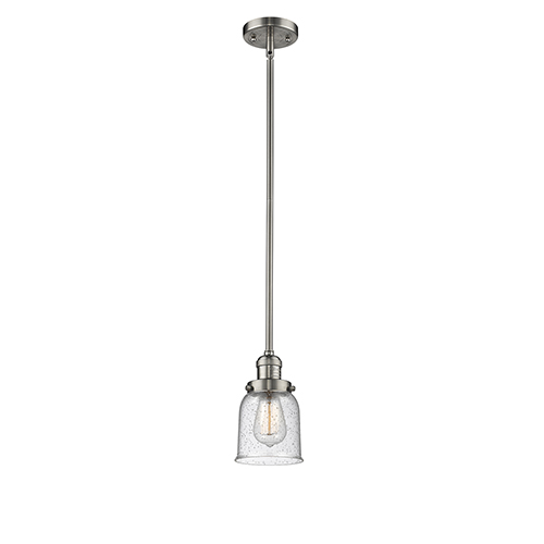 Innovations Lighting Small Bell Brushed Satin Nickel 10-Inch One-Light Mini Pendant with Seedy Bell Glass