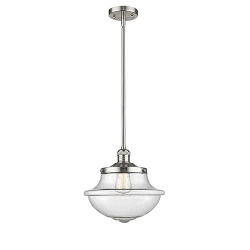 Oxford School House Brushed Satin Nickel LED Pendant with Seedy Bell Glass