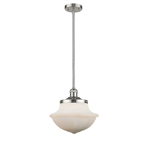 Innovations Lighting Oxford School House Brushed Satin Nickel 11-Inch One-Light Pendant with White Bell Glass