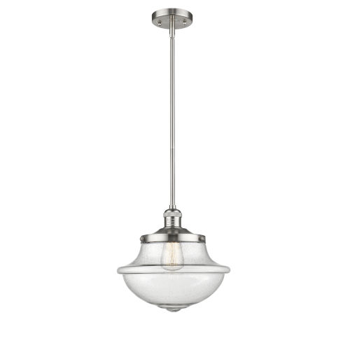 Franklin Restoration Brushed Satin Nickel 12-Inch LED Pendant with Seedy Large Oxford Shade