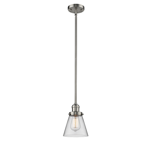 Innovations Lighting Small Cone Brushed Satin Nickel Eight-Inch One-Light Mini Pendant with Clear Cone Glass
