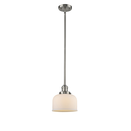 Innovations Lighting Large Bell Brushed Satin Nickel 10-Inch LED Mini Pendant with Matte White Cased Dome Glass