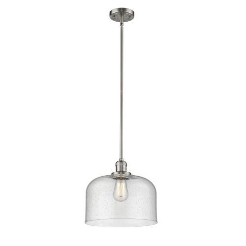X-Large Bell Brushed Satin Nickel One-Light Hang Straight Swivel Pendant with Seedy Glass