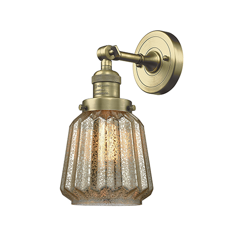 Chatham Antique Brass One-Light Wall Sconce with Mercury Fluted Novelty Glass