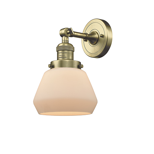 Innovations Lighting Fulton Antique Brass One-Light Wall Sconce with Matte White Cased Sphere Glass