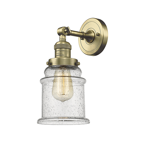 Canton Antique Brass One-Light Wall Sconce with Seedy Bell Glass
