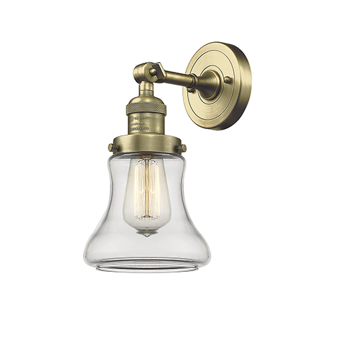 Innovations Lighting Bellmont Antique Brass One-Light Wall Sconce with Clear Hourglass Glass