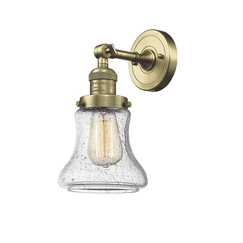 Bellmont Antique Brass One-Light Wall Sconce with Seedy Hourglass Glass