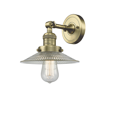 Innovations Lighting Halophane Antique Brass One-Light Wall Sconce with Halophane Cone Glass