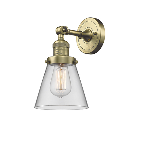 Innovations Lighting Small Cone Antique Brass One-Light Wall Sconce with Clear Cone Glass