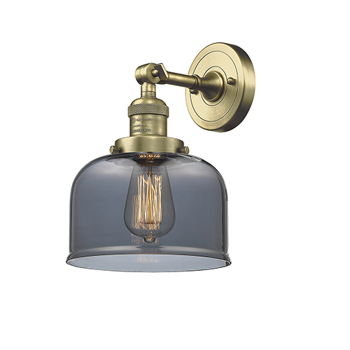 Large Bell Antique Brass One-Light Wall Sconce with Smoked Dome Glass