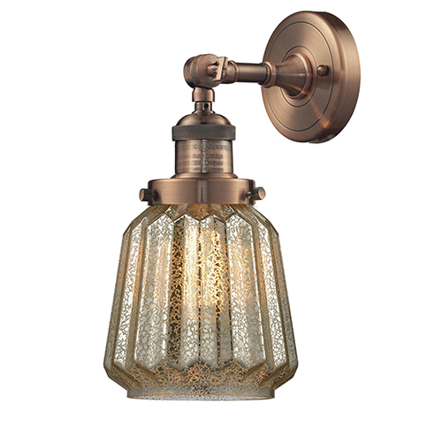 Innovations Lighting Chatham Antique Copper LED Wall Sconce with Mercury Fluted Novelty Glass
