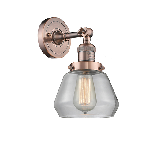 Innovations Lighting Fulton Antique Copper LED Wall Sconce with Clear Sphere Glass