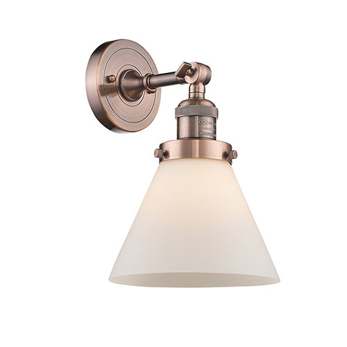 Innovations Lighting Large Cone Antique Copper One-Light Wall Sconce with Matte White Cased Cone Glass