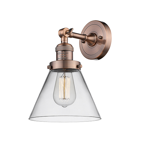 Large Cone Antique Copper LED Wall Sconce with Clear Cone Glass