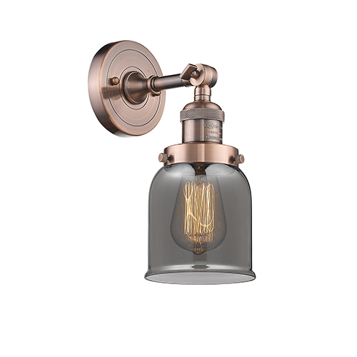 Innovations Lighting Small Bell Antique Copper One-Light Wall Sconce with Smoked Bell Glass