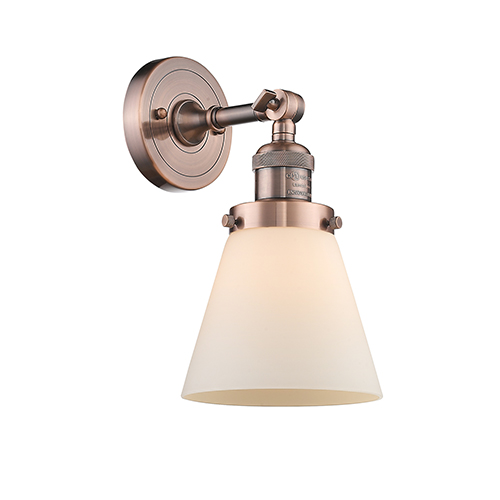 Small Cone Antique Copper LED Wall Sconce with Matte White Cased Cone Glass
