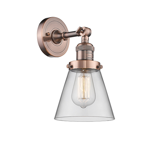 Innovations Lighting Small Cone Antique Copper One-Light Wall Sconce with Clear Cone Glass