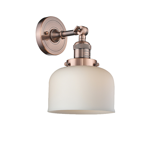 Innovations Lighting Large Bell Antique Copper One-Light Wall Sconce with Matte White Cased Dome Glass