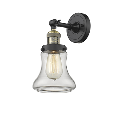 Innovations Lighting Bellmont Black Antique Brass Seven-Inch One-Light Wall Sconce with Clear Hourglass Glass