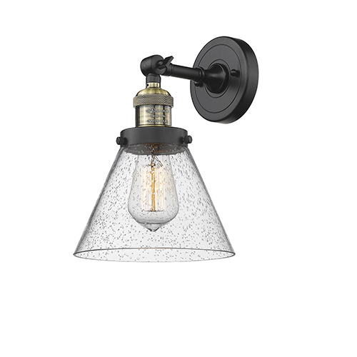 Innovations Lighting Large Cone Black Antique Brass Eight-Inch One-Light Wall Sconce with Seedy Cone Glass