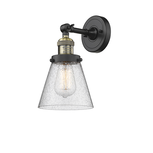 Innovations Lighting Small Cone Black Antique Brass Six-Inch One-Light Wall Sconce with Seedy Cone Glass
