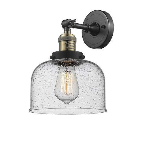 Innovations Lighting Large Bell Black Antique Brass Eight-Inch LED Wall Sconce with Seedy Dome Glass
