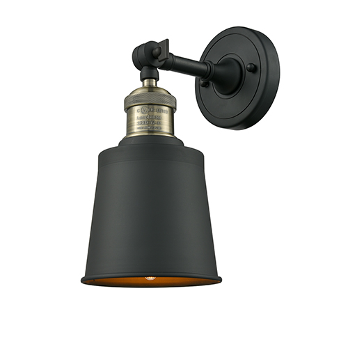 Addison Black Antique Brass Five-Inch One-Light Wall Sconce with Brushed Brass Metal Shade