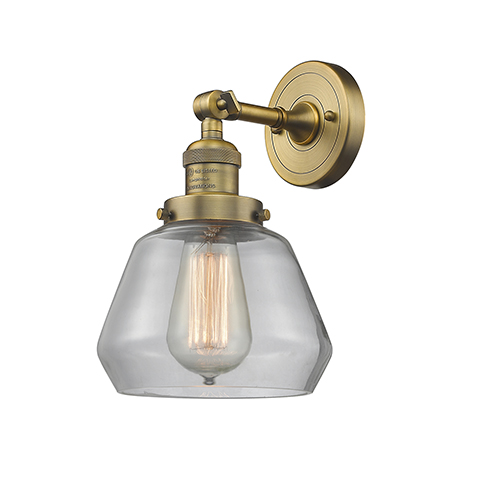 Fulton Brushed Brass LED Wall Sconce with Clear Sphere Glass