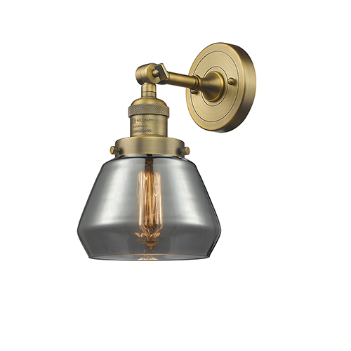 Innovations Lighting Fulton Brushed Brass One-Light Wall Sconce with Smoked Sphere Glass