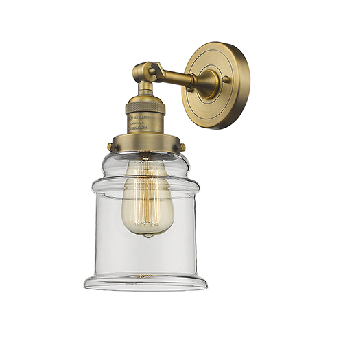 Innovations Lighting Canton Brushed Brass One-Light Wall Sconce with Clear Bell Glass